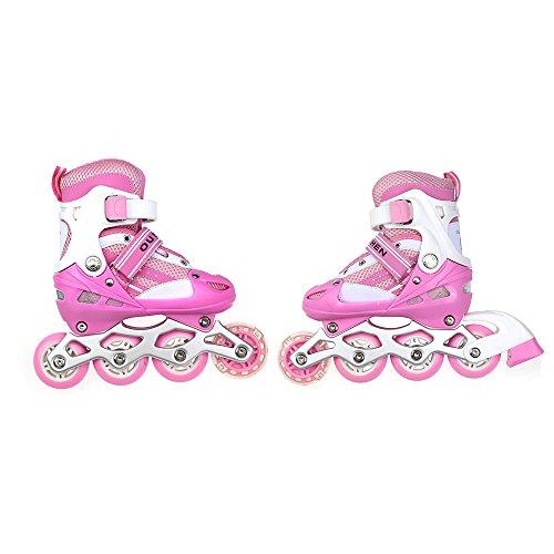 Flyelf Inline Skates Einstellbar Rollschuhe mit Blinkende Rolle für Kinder Verstellbar Rosa 2 Größe (M)