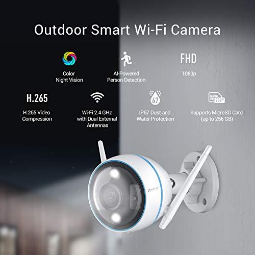 EZVIZ CTQ3N Überwachungskamera Aussen WLAN IP Kamera 1080P mit KI - Personenerkennung, 3-Nachtsichtmodi, Blitzalarm, MicroSD-Kartensteckplatz (max. 256 GB), IP67, Kompatibel mit Alexa