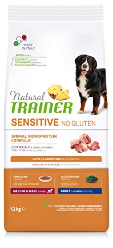 Natural Trainer Sensitive No Gluten - Cibo Secco per Cani Medium&Maxi Adult, con Maiale e Cereali Integrali, 12kg