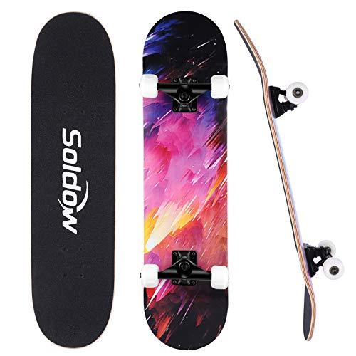 Skateboards Completo 31 x 8  para Principiantes y Profesionales, Soldow 7 Capas Monopatín de Madera de Arce 80x20CM Doble Patada Cóncava Skateboard para Niños  Adolescentes  Adultos
