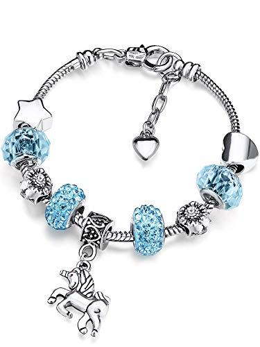 Jieddey Pulsera de Cuentas Unicornios,Pulsera de Unicornio para Niñas Diamantes de Imitación de Cristal Pulsera Chica para Niños Regalos de Cumpleaños Joyas para Niña Azul