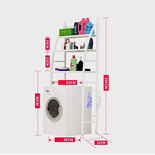 AIOXY Waschmaschinenregal Bügeleisen 3-Lagen-Waschmaschinenständer Balkon Wäscheschrank Trommelwaschmaschine über dem Regal Abstellregal (Schwarz/weiß),01white