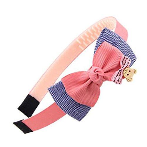 Girls Sweet Hairband Hair Band Accessoires Coiffure Avec Bow-nœud, Rose profond