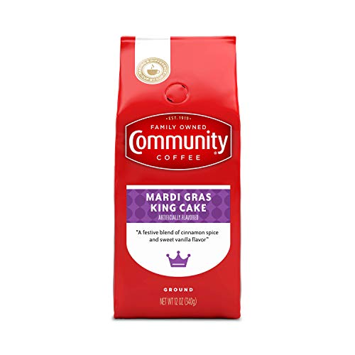 Community Coffee Mardi Gras King Cake Flavored Medium Roast Coffee, Ground, 12 Ounces