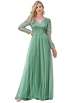 Ever-Pretty Women's Long Sleeve Empire Waist Fit A-line Maxi Bridesmaid Dress Green US8