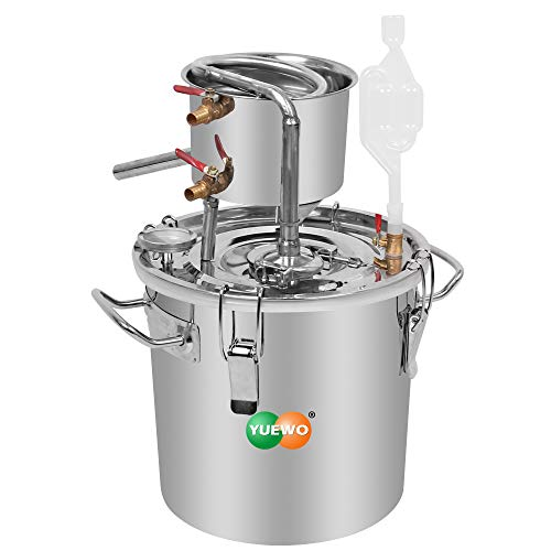 YUEWO DIY 8Gal 30L Alcohol Moonshine Etanol Still Spirits Caldera de acero inoxidable Agua Destilador casero Kit de elaboración de vino