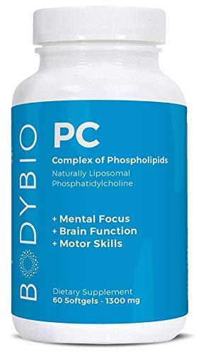 BodyBio - PC Phosphatidylcholine + Phospholipids - Liposomal for High Absorption - Optimal Brain & Cell Health - Boost Memory, Cognition, Focus & Clarity - 100% Non-GMO - 60 Softgels