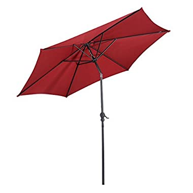 Giantex 9ft Patio Umbrella Patio Market Steel Tilt w/Crank Outdoor Yard Garden (Burgundy)