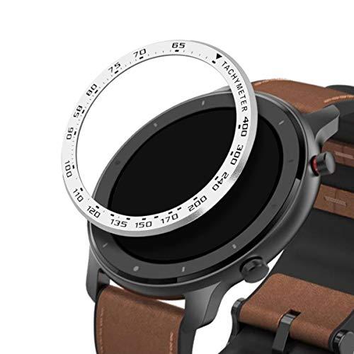kwmobile Schutzring kompatibel mit Huami Amazfit GTR (47mm) - Bezel Ring Lünette mit Tachymeter Skala Silber Schwarz