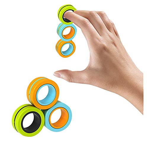 HaotaBee|Stress Relief Magnet Toys, Fidget Spinner, Stress Relief Magnetic Ring Finger Spinning in the Air,Magnetic Rings Fidget Toy, Anti-stress Fidget for Games, Kid, Adult