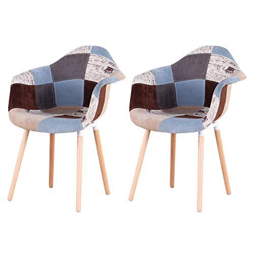EGOONM Pack 2 sillas, sillón de Patchwork, Silla de Comedor, Silla de recepción, Adecuado para Sala de Estar, Comedor (Marrón)