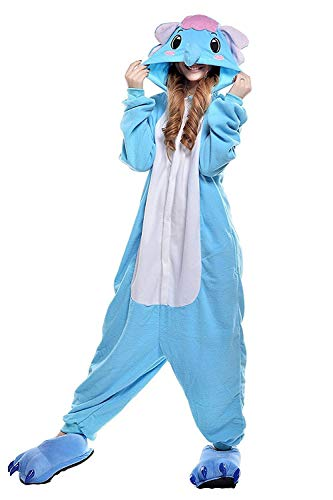 ABYED Donna Pigiama in pile Animalei Onesies Kigurumi novità Pigiama Costumi da notte di Halloween M (156-163CM) Blu Elephant