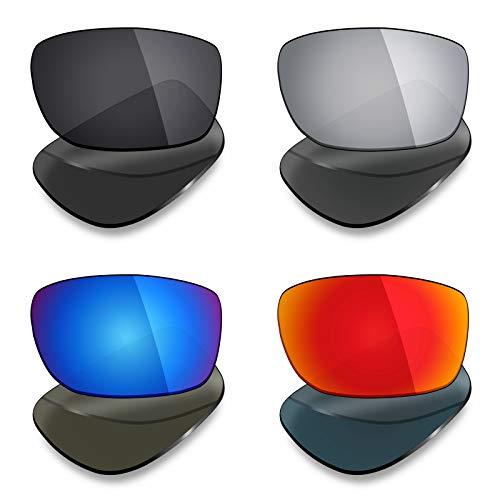 Mryok Lot de 4 paires de verres polarisés de rechange pour lunettes de soleil Oakley Fives Squared – Noir furtif / Rouge feu/Bleu glacial/Argent titane