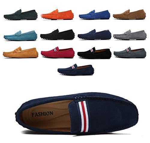 AARDIMI - Zapatillas de piel para hombre, estilo mocasín