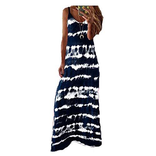 Morbuy Vestidos Mujer Casual Playa Largos Verano Tie Dye Cuello V Suelto Sin Mangas Casual Falda Larga Maxi Vestido Playeros Sin Accesorios (XL,Azul Marino)