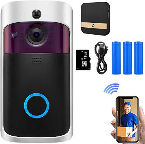 HUAYUU Funk TüRklingel Mit Kamera,Wlan Kamera720 HD Auflösung,166 ° Weitwinkel üBerwachungskamera.Zwei-Wege-Audio-Talk, Nachtsicht,App- FüR Ios/Android