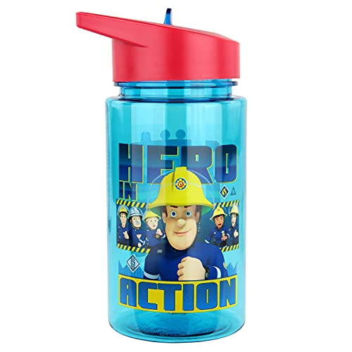 P:os 27264 - Trinkflasche für Kinder, ca. 450 ml, transparentes Design mit Feuerwehrmann Sam Motiv und integriertem Strohhalm zum Hochklappen, aus Kunststoff, bpa- und phthalatfrei