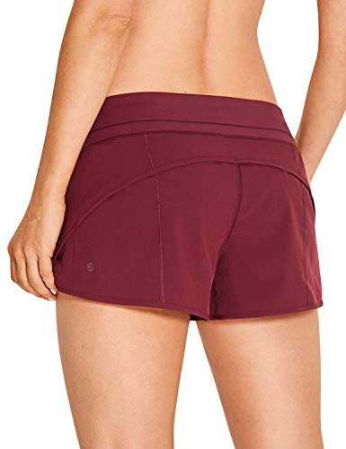 CRZ YOGA Women's Quick-Dry Workout Sports Active Running Shorts - 2.5 Inches Dark Red Medium