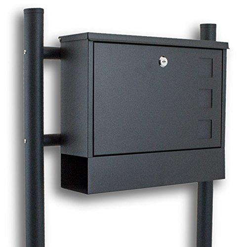 BITUXX® Standbriefkasten Briefkasten Postkasten Mailbox Briefkastenanlage mit integrierten Zeitungsfach Dunkelgrau Anthrazit