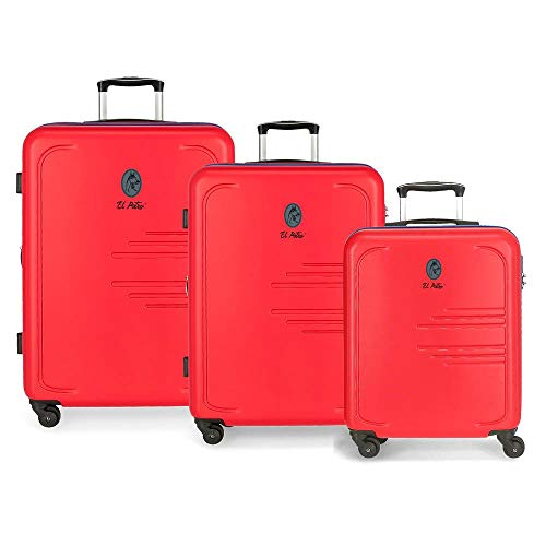 El Potro Batran Juego de maletas Rojo 55/69/79 cms Rígida ABS Cierre combinación 242L 4 Ruedas Equipaje de Mano