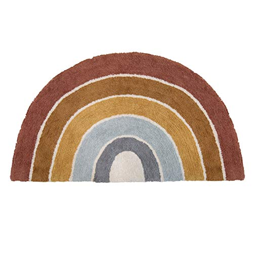 Little Dutch RU10310300 Teppich in Regenbogenform Pure & Nature Vintage rot gelb blau 80x130 cm