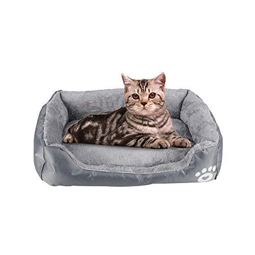 Urijk Katzenbett Hundebett Weich Warm Bett Kissen Katzensofa Haustierbett Tierbett für Katzen und kleine, mittelgroße Hunde (S : 45cmx40cmx12cm, Hellgrau)