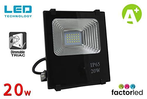 FactorLED LED-spot, 20 W, professioneel, SMD 3030, dimbaar, IP65, outdoor, tuin, spatbescherming, 2 jaar garantie [energie-efficiëntieklasse A ]