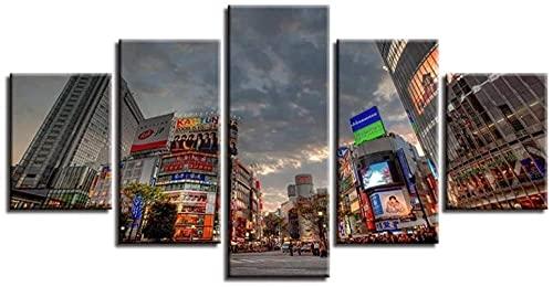 YING 5 Piezas lienzos para Pintar Grandes Japón Ciudad de Tokio Decorativos Personalizado con Foto bastidores para lienzos Grandes Decorativos XXL