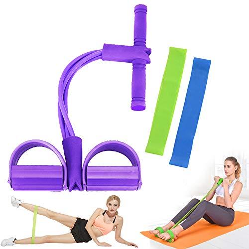 Geenber Elastisches Sit-Up-Pull-Seil, Bauchtrainer, 4 Röhren, elastisches Sit-Up-Pull-Seil mit Fußpedal, Fitness, Dehnen, Abnehmen, Training, Yoga-Ausrüstung