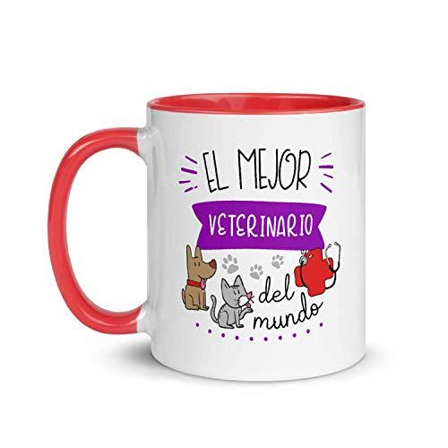 Kembilove Taza de Desayuno del Mejor Veterinario del Mundo – Tazas de Café para Profesionales y Trabajadores para la Oficina – Tazas de Té en Color de Profesiones – Taza de Cerámica de 350 ml