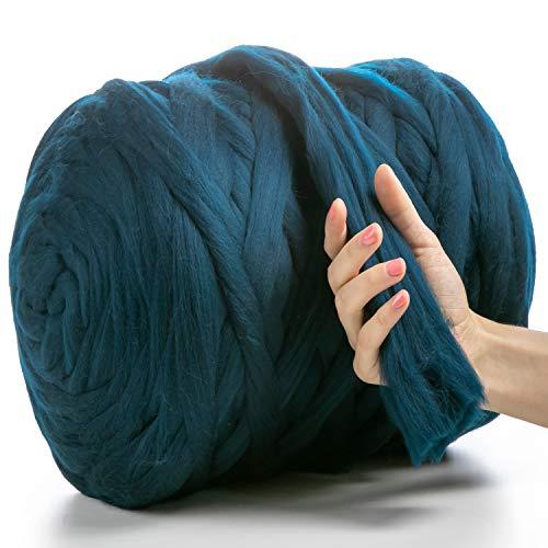 MeriWoolArt - Lana de merino 100 % para punto y ganchillo con hilo de 4-5 cm de grosor, lana de merino gruesa para bufanda, manta y cojín XXL, Sea, 500 g
