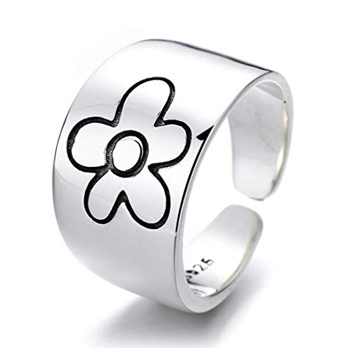 Aukmla Anillo de flores vintage de plata ajustable anillo abierto con caja de regalo flores anillo de dedo joyería para mujeres y niñas