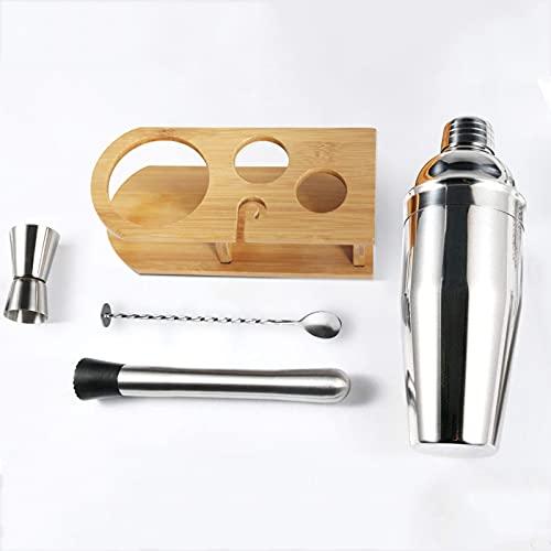FHUILI Set de Coctelera Set de Herramientas de Barra de Acero Inoxidable Kit de Barman con Elegante Soporte de Bambú Juego de Coctelera Equipo de Camarero550/750ml