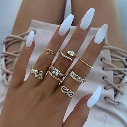 Aukmla Boho Knöchelringe Set Gold Schlange stapelbar Fingerringe Midi Größe Gelenk Knöchelringe Handzubehör für Frauen und Mädchen 8St