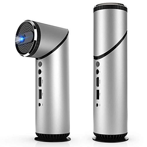DHINGM WiFi Inteligente Portable Práctico Proyector Mini proyector casero, Roku Streaming Stick/Ordenador portátil/BluRay DVD / PS3 / PS4 / Xbox/TV Compatible (Color : Silver)