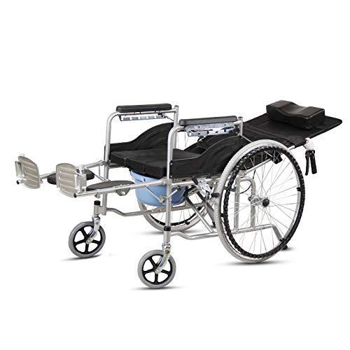 Wheelchair commode Asiento con Patas Plegables Ajustables - Almohadilla De Limpieza ExtraíBle/Silla De Ruedas De Inodoro Plegable/Silla De Ducha/Silla De Ruedas Reclinable/Capacidad De 220 LB