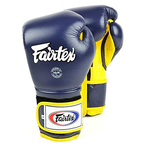 Fairtex Guantes de boxeo estilo mexicano, color azul y amarillo, 14 onzas