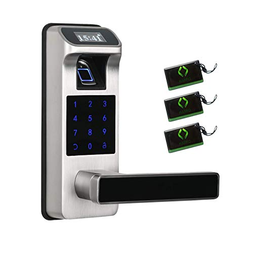 Newst Fingerprint and Touchscreen with OLED Display Screen keyless keypad Entry Door Lock, Fingerprint Door Lock, Passcode Door Lock, Smart Lever Door Lock for Office Home, 2020 New Model (Sliver)