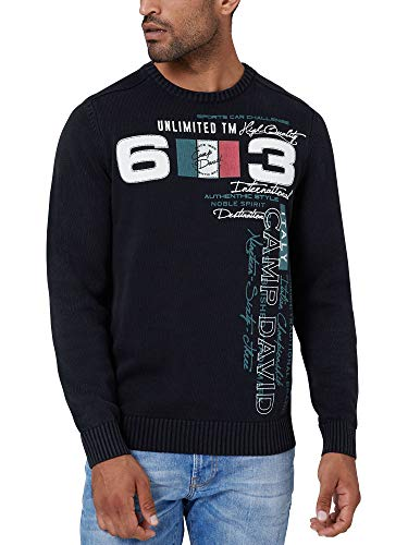 Camp David Herren Stone Washed Pullover mit Label Print Schwarz XXL
