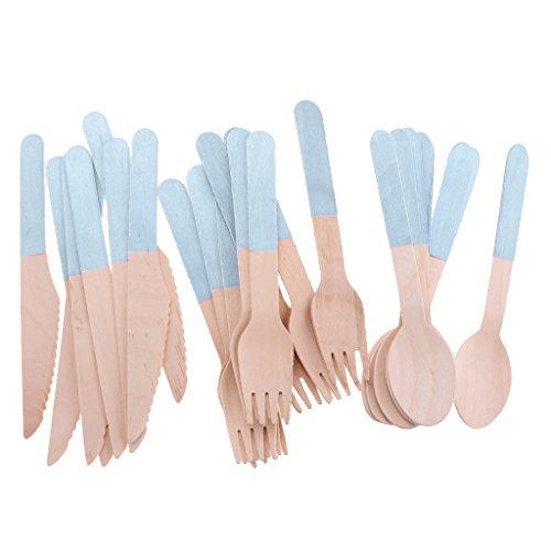 Pack De 24 Cubiertos Desechables Tenedor Cuchara Cuchillo Niños Fiesta De Cumpleaños Serveware - Azul