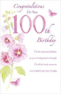 100th Happy Birthday Nice Verse And Flower Female New 100 Congratulations Card