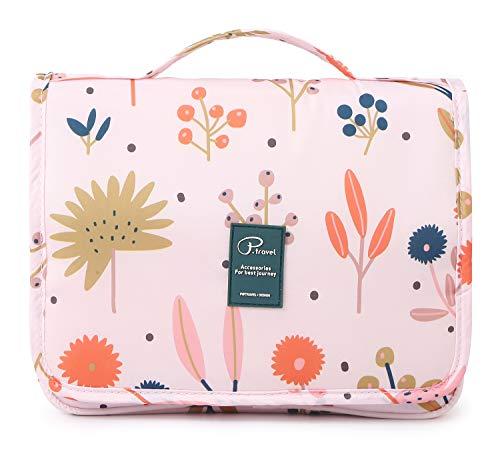 Tuscall Kulturbeutel zum aufhängen Kulturtasche für Damen - Waschbeutel Kosmetiktasche mit Haken für Reisen, Urlaub, Outdoor (Blume)