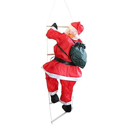 ZGHYBD Weihnachten Weihnachtsmann Auf Seil Leiter Innen Outdoor Kletterleiter Puppe Weihnachten Kreatives Dekor, Weihnachten Super Klettern Santa Holiday Decor Party Dekoration 90CM