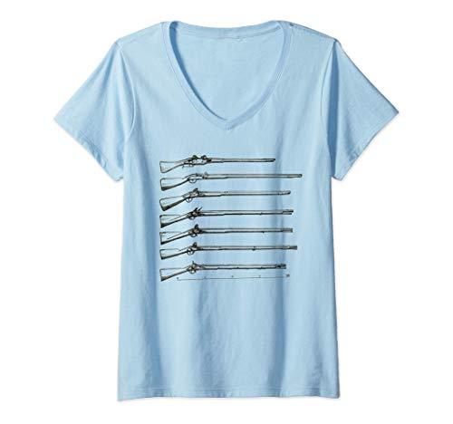 Mujer Arma de fuego militar de avancarga de mosquete Colector de Camiseta Cuello V