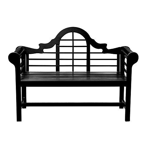 achla outdoor benches Achla Designs OFB-11 Lutyens Indoor/Outdoor Garden Bench, Black, 4 ft
