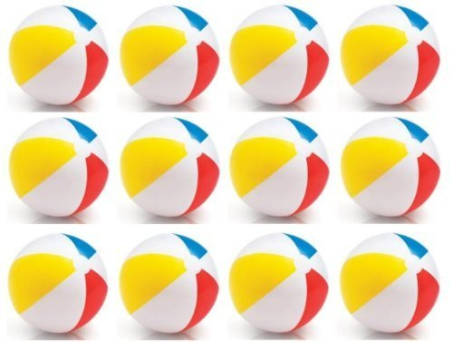 INTEX Classic Inflatable Glossy Panel Colorful Beach Ball - (Set of 12) |59020EP by Intex