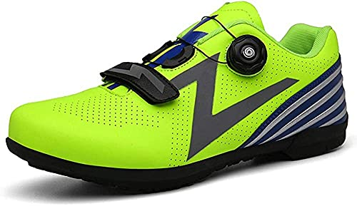 KUXUAN Calzado de Ciclismo para Hombre,Bicicleta de Ciclismo Sin Bloqueo Zapatillas de Montar Sin Rocas Zapatillas de Bicicleta de Montaña,Green-41 EU