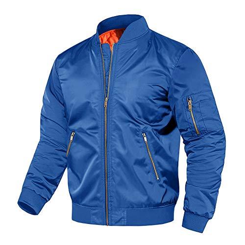 Bomber Jacket Men Windbreaker Men Lightweight Heated Jacket Motorcycle Jacket Pilot Jacket Winter Jacket Men Royal Blue