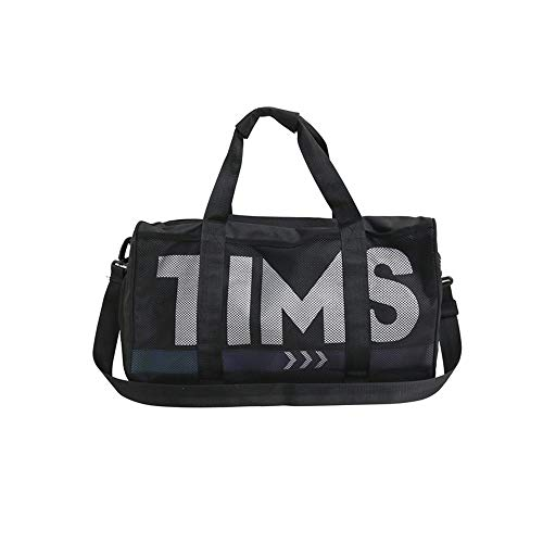 heqianqian Gym Bags Sports Duffel Bag For Yoga Swim Travel Duffle Bag Gym Bag With Shoes Compartment And Wet Pocket For Men And Women for Men and Women (Color : Black, Size : 48x25x27cm)