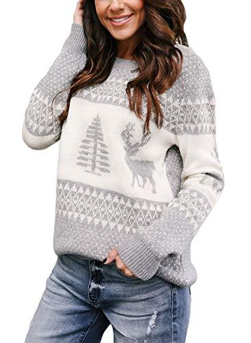 Sidefeel Women Christmas Pullover Sweater Cute Reindeer Jumper Medium Grey